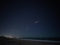 SpaceX Falcon  Starlink V L Launch  w Airplane - Melbourne Beach FL LG G-ISO-s-f