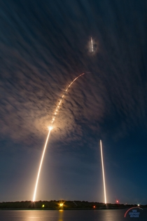SpaceXs Falcon  rocket launches and lands in this single  minute exposure