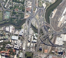 Spaghetti junction in Bowen Hills Brisbane Australia Where the AirportLink Tunnel M Clem Jones Tunnel M and Inner City Bypass M meet