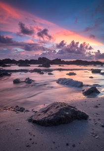 Spectacular skies during sunset at a remote beach in Costa Rica
