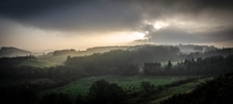 Spectacularly atmospheric and mist veiled Denbighshire landscape Wales