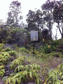 Speed limit sign on an abandoned road next to Kilauea Caldera an active volcano in Hawaii