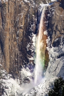 Spent all day chillin at Tunnel View and captured this Rainbow fall instead of the firefall Bridalveil Falls Yosemite CA