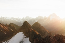 Spent the night on a peak in the Swiss Alps Heres the view shortly after sunrise