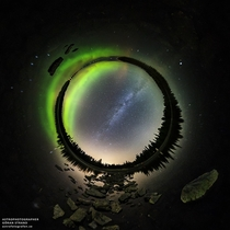 Spherical panorama stereographic projection of the Milky Way over Lake Storsjn in Jmtland Sweden taken on the autumnal equinox photo by Gran Strand