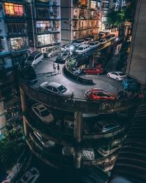 Spiral car park in a hilly neighborhood of Chongqing China
