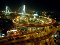 Spiral onramp to Shanghais Nanpu Bridge