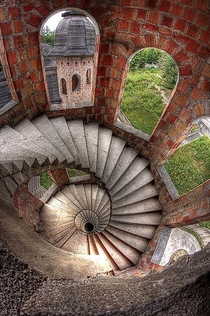 Spiral stairs inside the abandoned apalice Castle  Poland