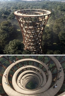 Spiral Treetop Walkway in Danish forest