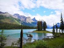 Spirit Island located at Maligne Lake Jasper Alberta Canada  x