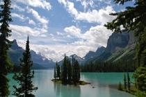 Spirit Island of Lake Maligne in Banff National Park