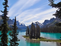 Spirit Island on Maligne Lake Jasper Canada