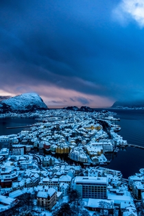 Splendid view over lesund Norway on a storm day