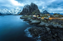 Splendid Village Hamny a small fishing village in the municipality of Moskenes in Nordland county Norway