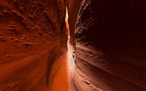 Spooky Canyon a narrow slot carved into the orange sandstone of southern Utah The reflected light is intense when the sun is directly overhead