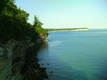 Spray Falls and Lake Superior at Pictured Rocks National Lakeshore Michigan
