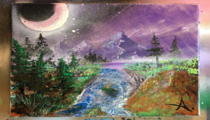 Spray Paint  Acrylic painting   Mountains Landscape   Spray Paint Art Cristian