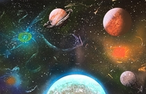 Spray Paint Art Space Solar System Planets and Galaxys