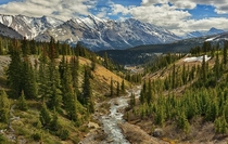 Spring In The Rockies Looking south from the Icefields Parkway in Alberta Canada last week writes photographer Jeff R Clow
