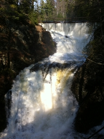 Spring Waterfall just outside Sault Ste Marie Ontario Canada