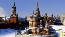 St Basils Cathedral - The Cathedral of Vasily the Blessed - Red Square Moscow Russia - Built from  to  on orders from Ivan the Terrible - The church is shaped like the flame of a bonfire rising into the sky a design that has no parallel in Russian archite