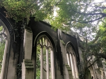 St Dunstan-in-the-East Church in the City of London destroyed by German bombs in World War II turned public garden