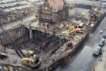 St Enoch Subway building Glasgow built  on stilts as modern ticket hall is built underneath it in late s