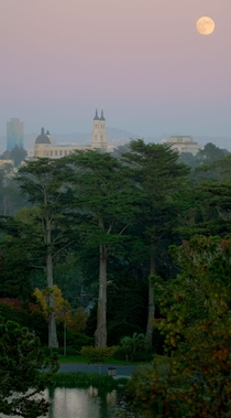 St Ignatius on the University of San Francisco campus shot from Strawberry Hill Golden Gate Park