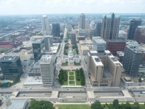 St Louis from the Arch looking west with the Old Courthouse front and center