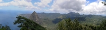 St Lucia On top of Gros Piton looking at Petit Piton Panorama