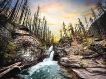 St Marys Falls in Glacier National Park