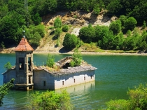 St Nicholas church Lake Mavrovo Macedonia The chruch flooded folloeing the contruction of a nearby dam You can enter it during the summer when the water levels are lower