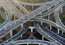 Stack interchange over a pedestrian bridge over an intersection in Shanghai China