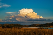 Stacked clouds at sunset over Pilanesberg National Park South Africa
