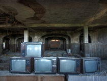 Stacked TVs Frozen in Time at the Abandoned Buck Hills Falls Hotel in Pennsylvania Built  - Abandoned
