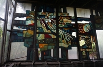 Stained glass at the Cafe Pripyat Chernobyl exclusion zone Ukraine  x