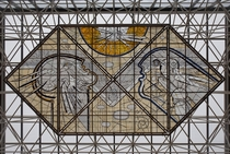Stained glass in Keflavk International Airport Iceland