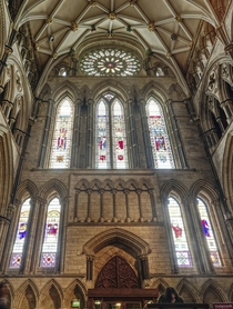 Stained glass in York Minster Yorkshire England