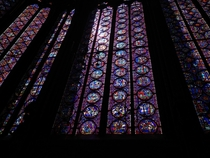 Stained glass inside of the Saint Chapelle Paris France
