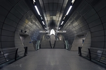 Stainless Steel metro station in London UK