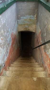 Stair tunnel which leads to the basementsolitary confinement in Alcatraz
