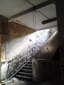 staircase in abandoned Oklahoma City Highschool OC