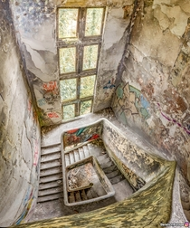 Staircase in an abandoned French sanatorium