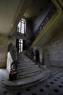 Staircase in an French abandoned Chateau