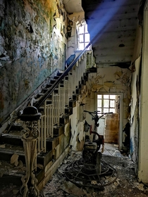 Staircase inside an abandoned Girls School in Ripon England