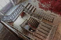 Stairs in abandoned church in St Petersburg Russia