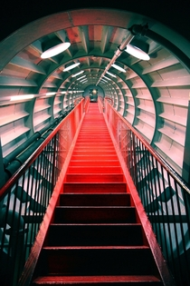 Stairs in the Atomium contructed in  for the Brussels Worlds Fair Belgium  x-post rcrazystairs