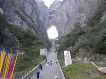 Stairs leading to Tianmen Shan Heavens Gate Mountain natural arch in Hunan province China