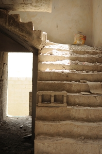 Stairway in an abandoned construction project I love the light from the hole in the ceiling x