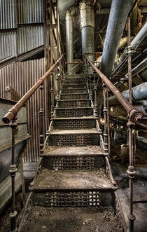 Stairway in an abandoned cotton gin